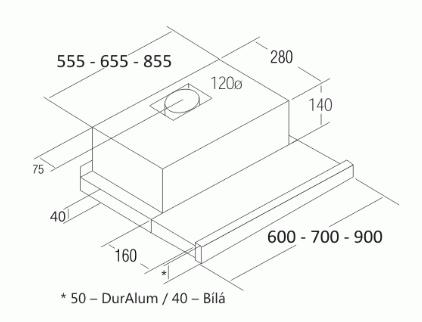 Cata TF 2003 DurAlum Nerez Výsuvná 900 LED + CASHBACK 300Kč